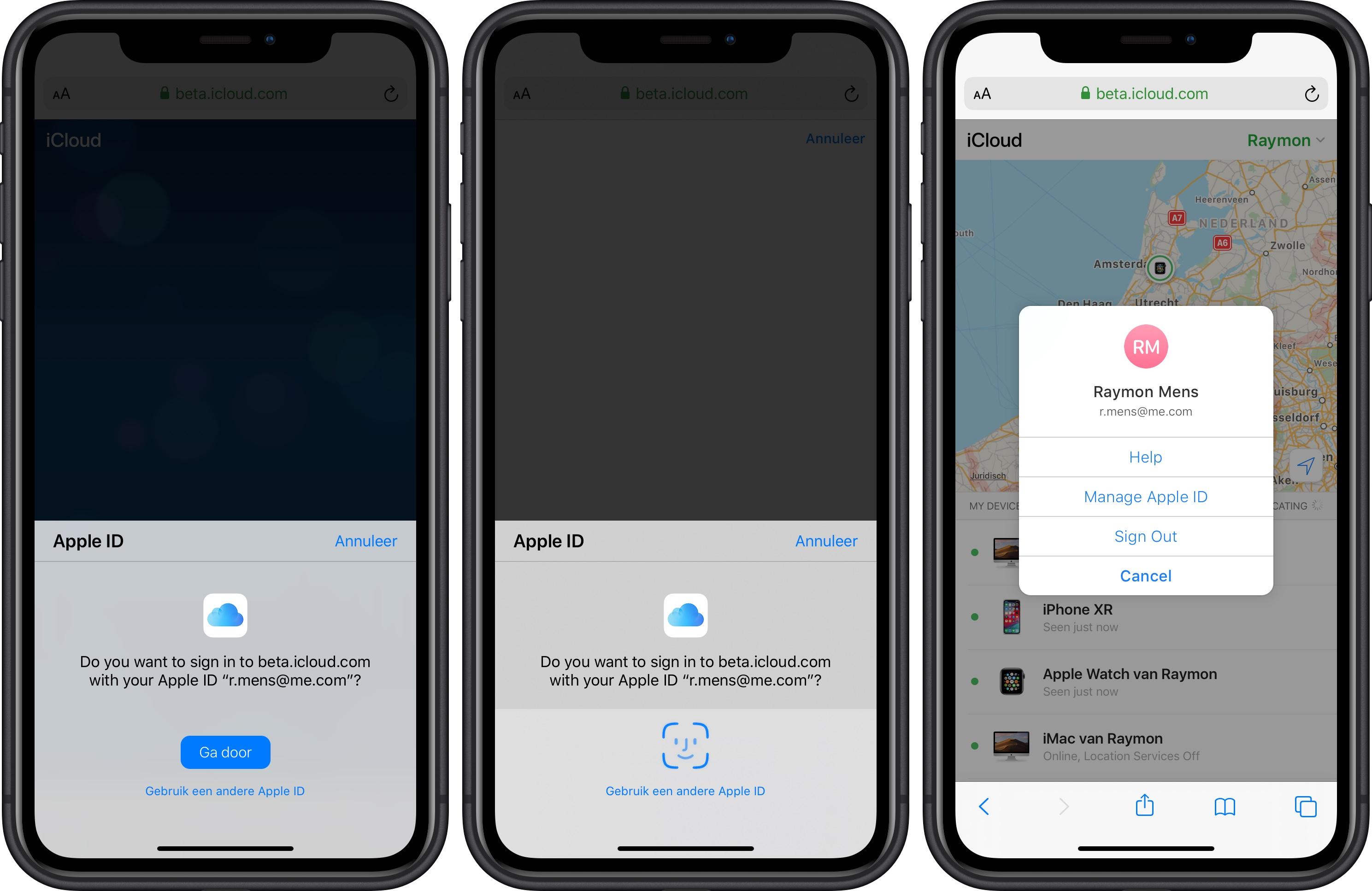 iOS 13 inloggen met Face ID Touch ID website