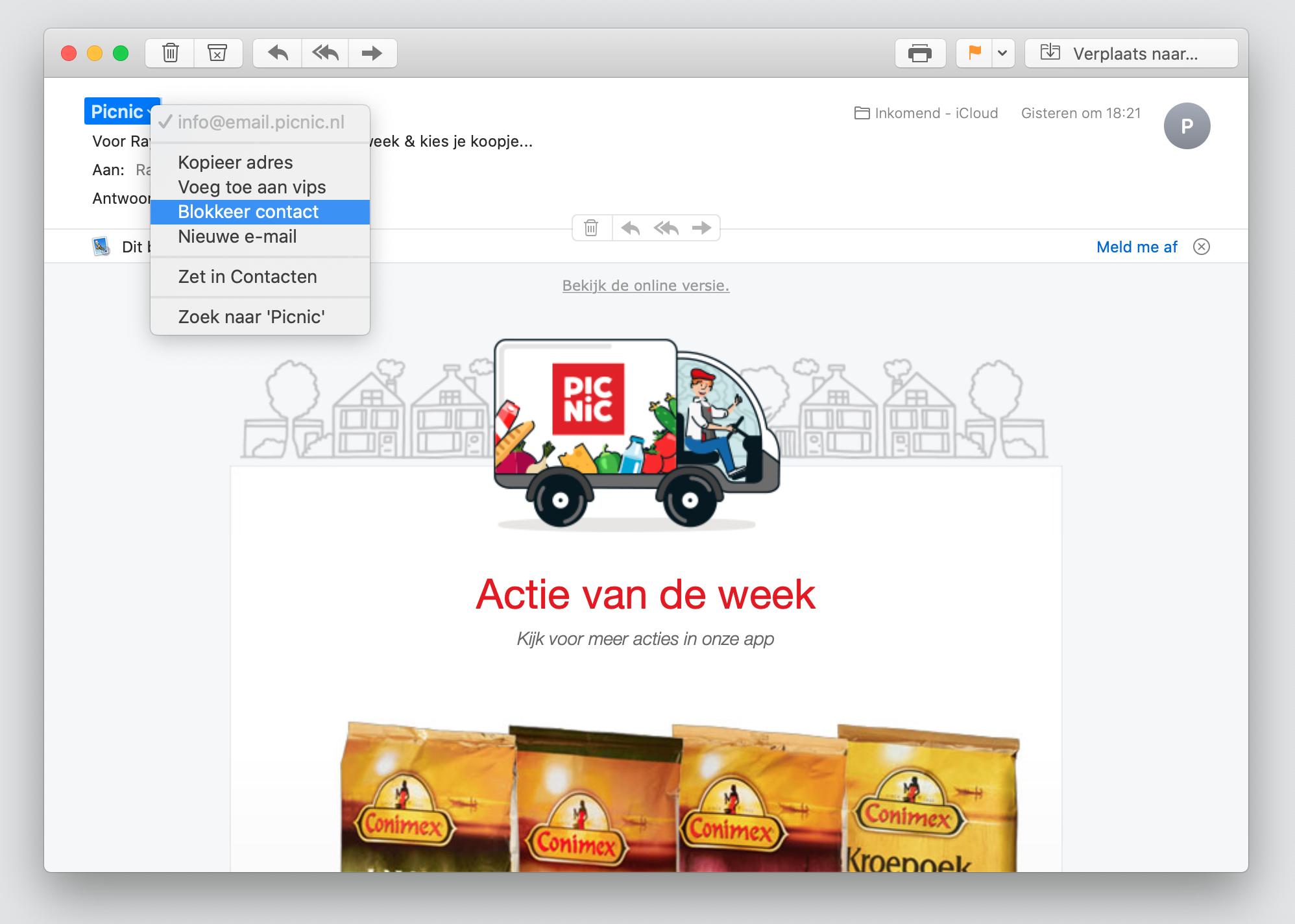 macos catalina mail afzender blokkeren