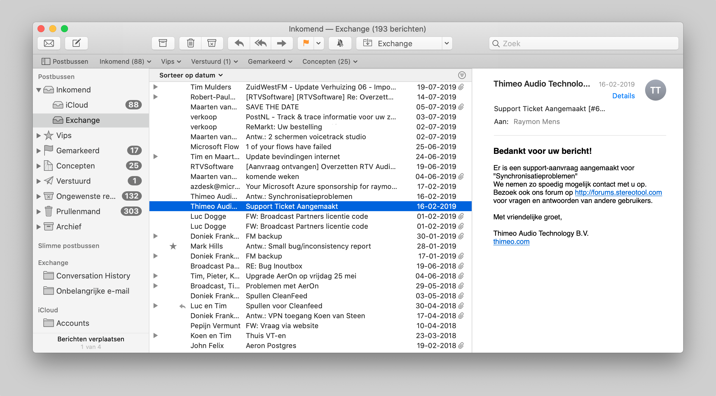 macos catalina mail-app compacte weergave