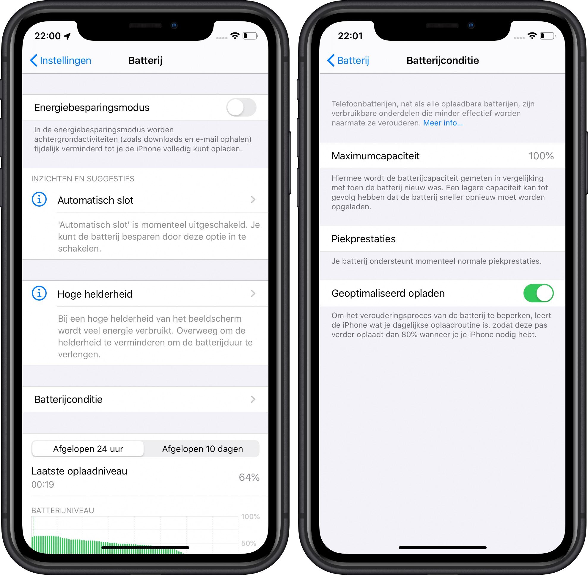 iOS 13 en opladen