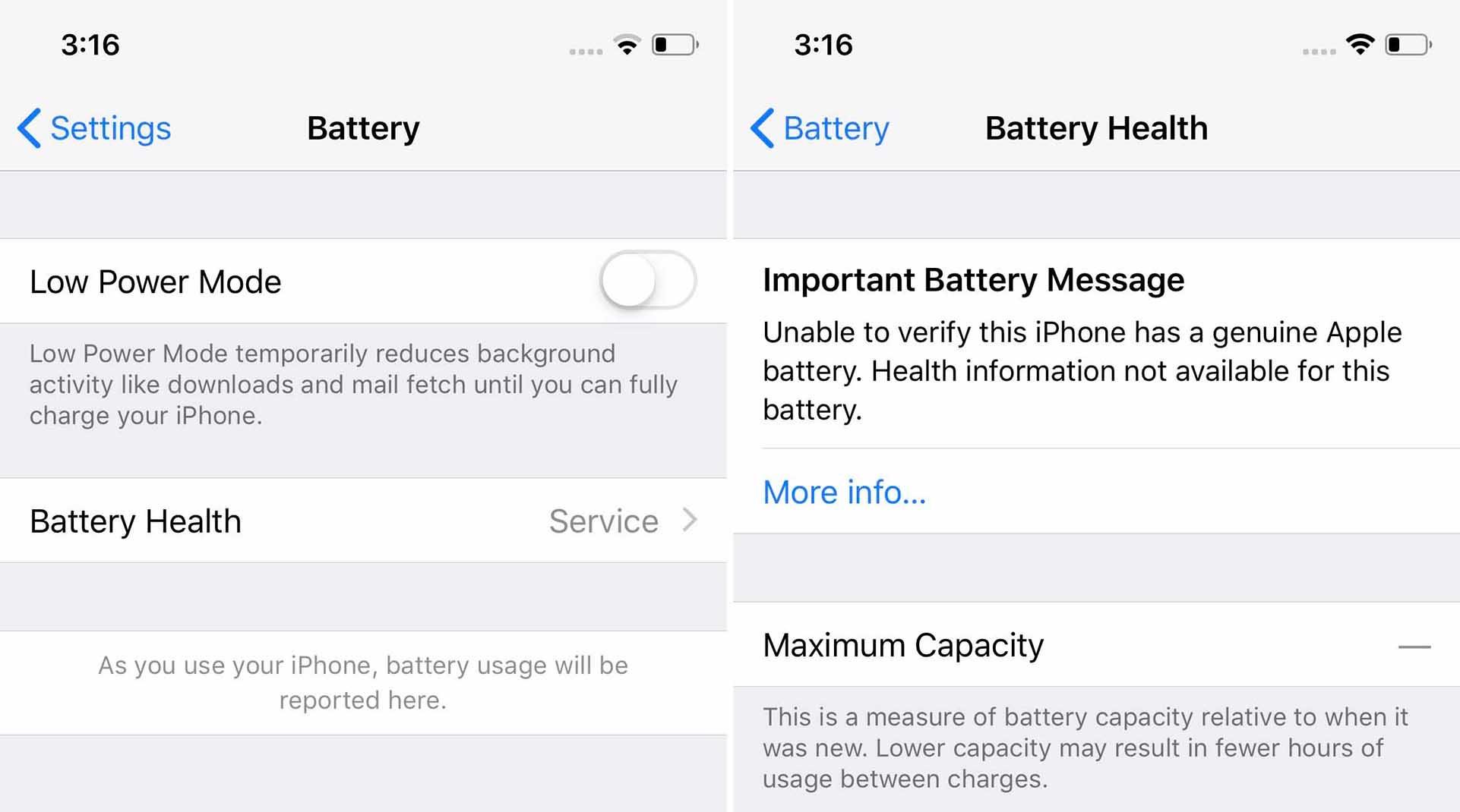 iPhone batterij instellingen niet-orginele accu
