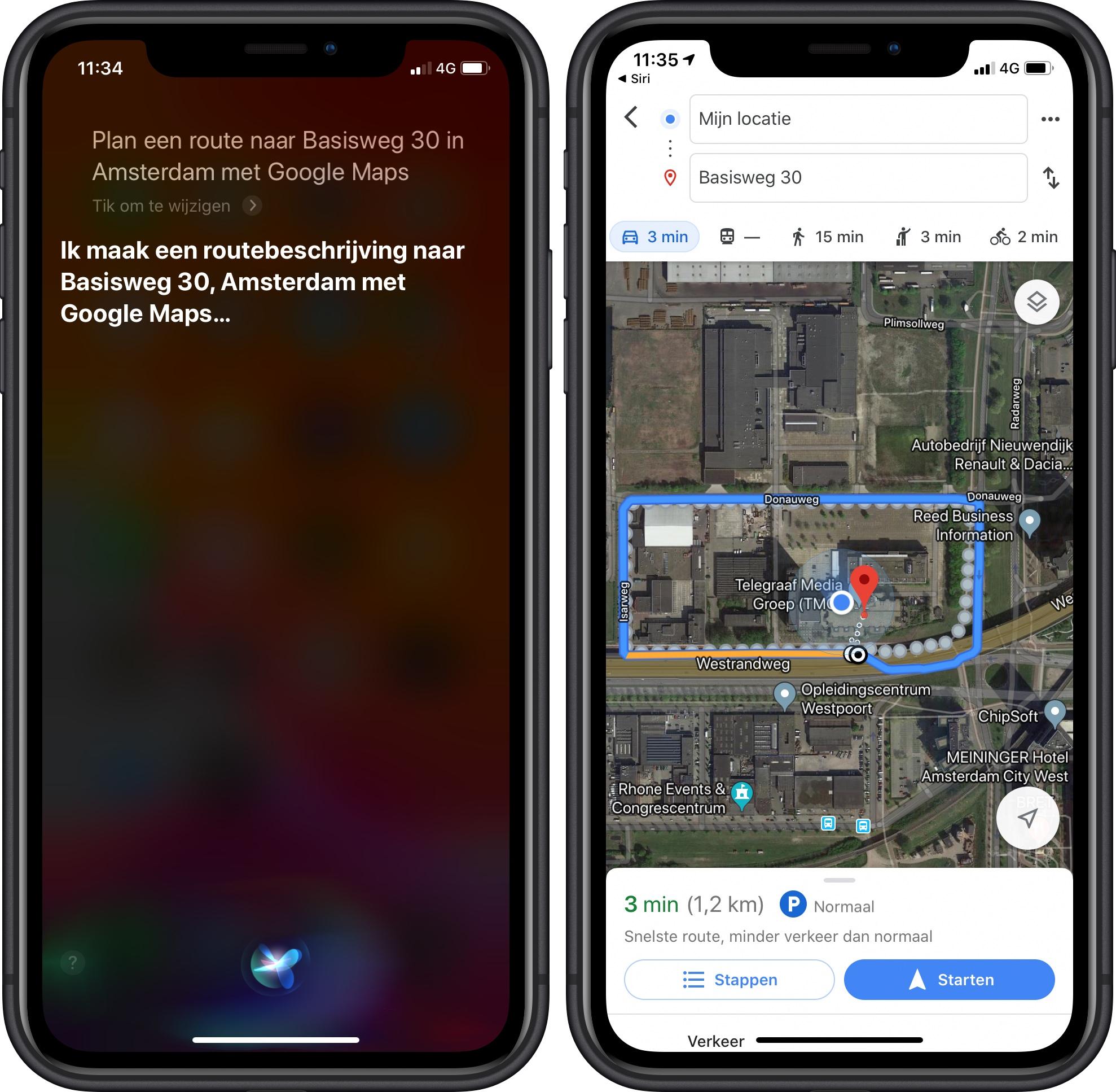 Google Maps Siri iOS 13