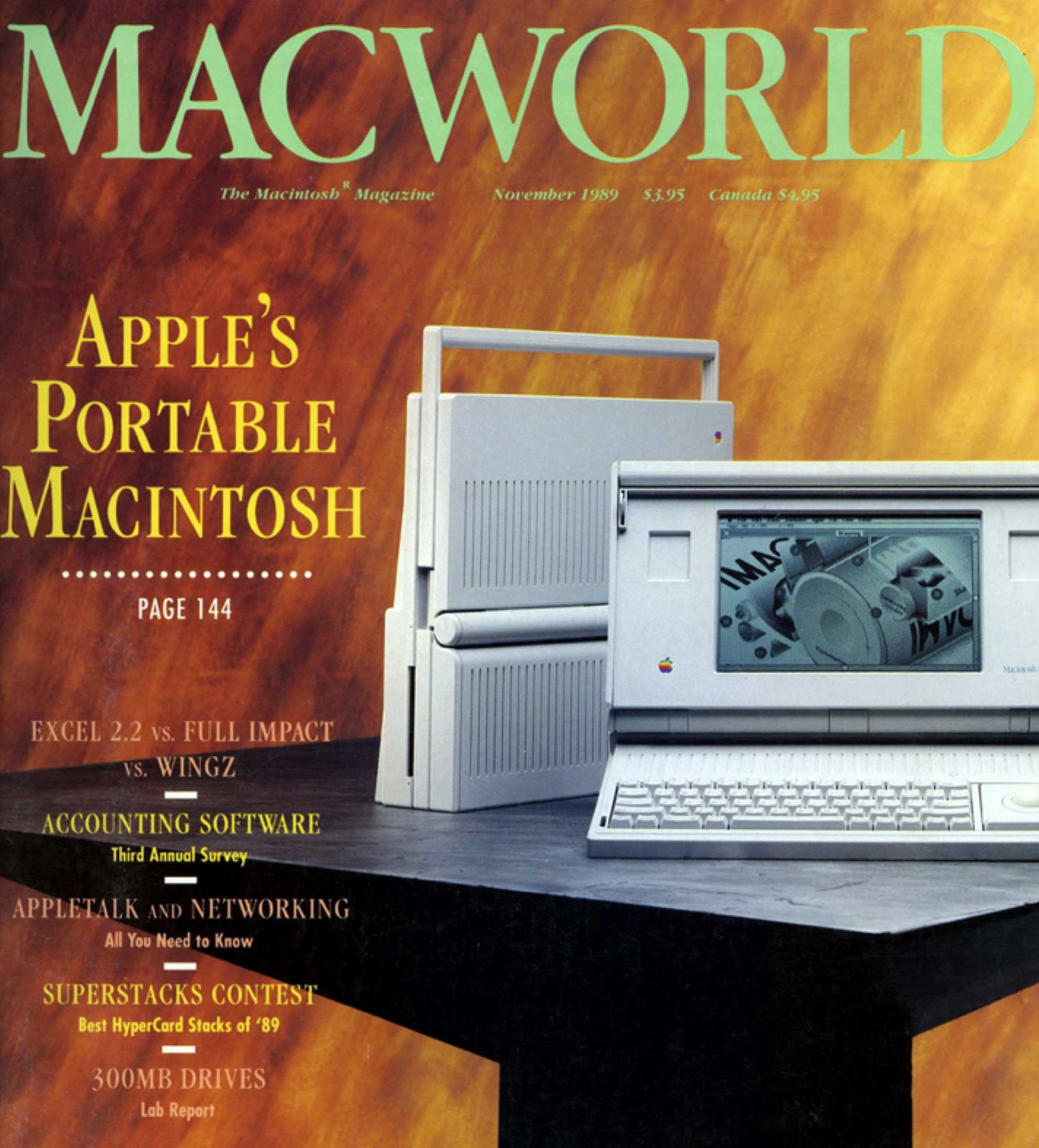 Cover MacWorld uit november 1989 over de Mac Portable