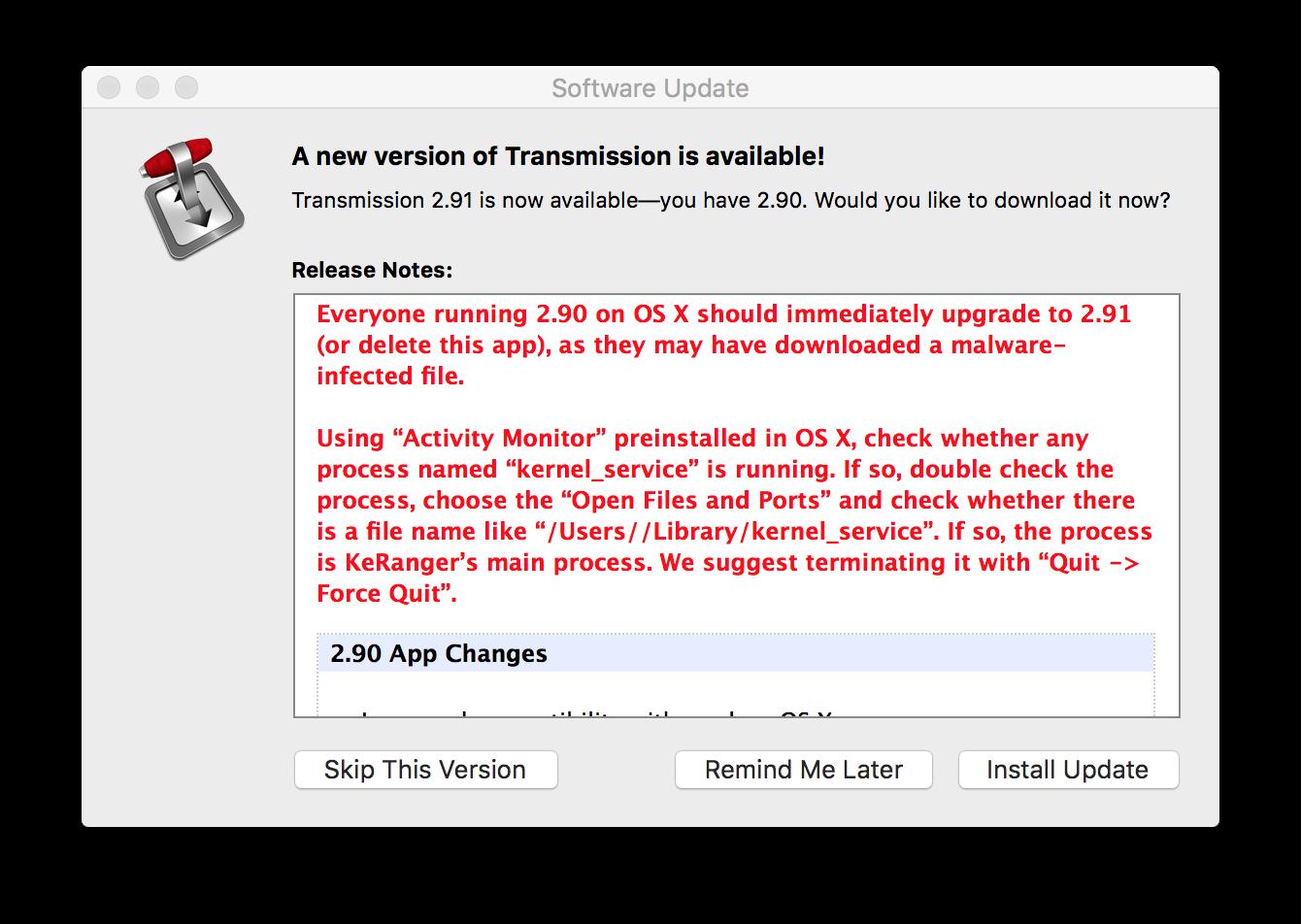 Transmission bevatte KeRanger malware