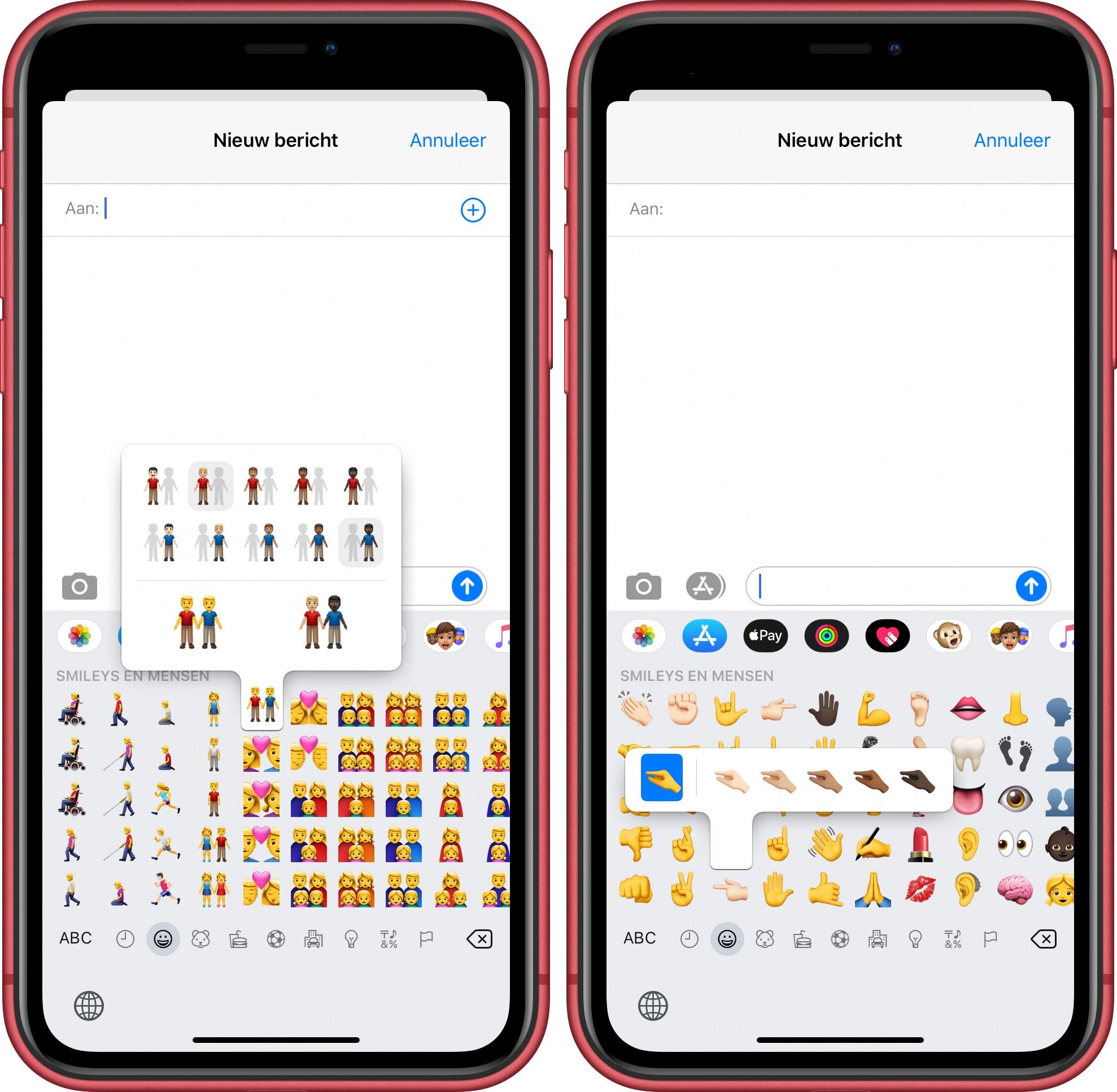 iOS 13.2 koppels huidskleur emoji