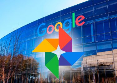 Google Photos Logo on head-office background