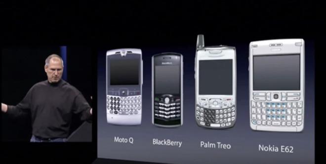 Steve Jobs met de in 2007 populairste smartphones.