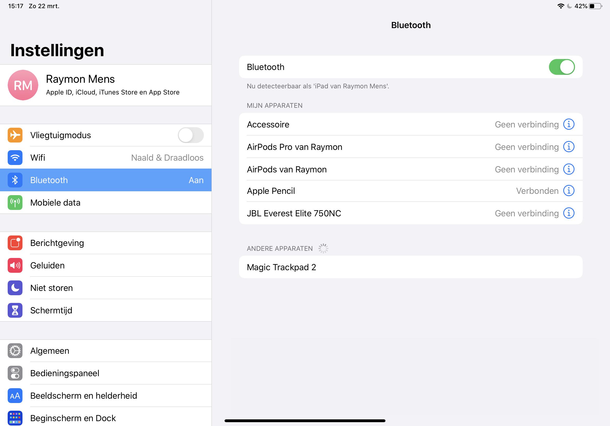Muis verbinden met iPadOS 13.4 (iOS 13.4) via het instellingen, Bluetooth-menu