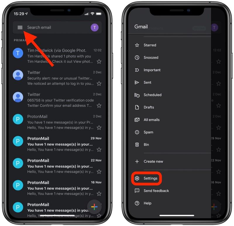 Gmail dark mode 2