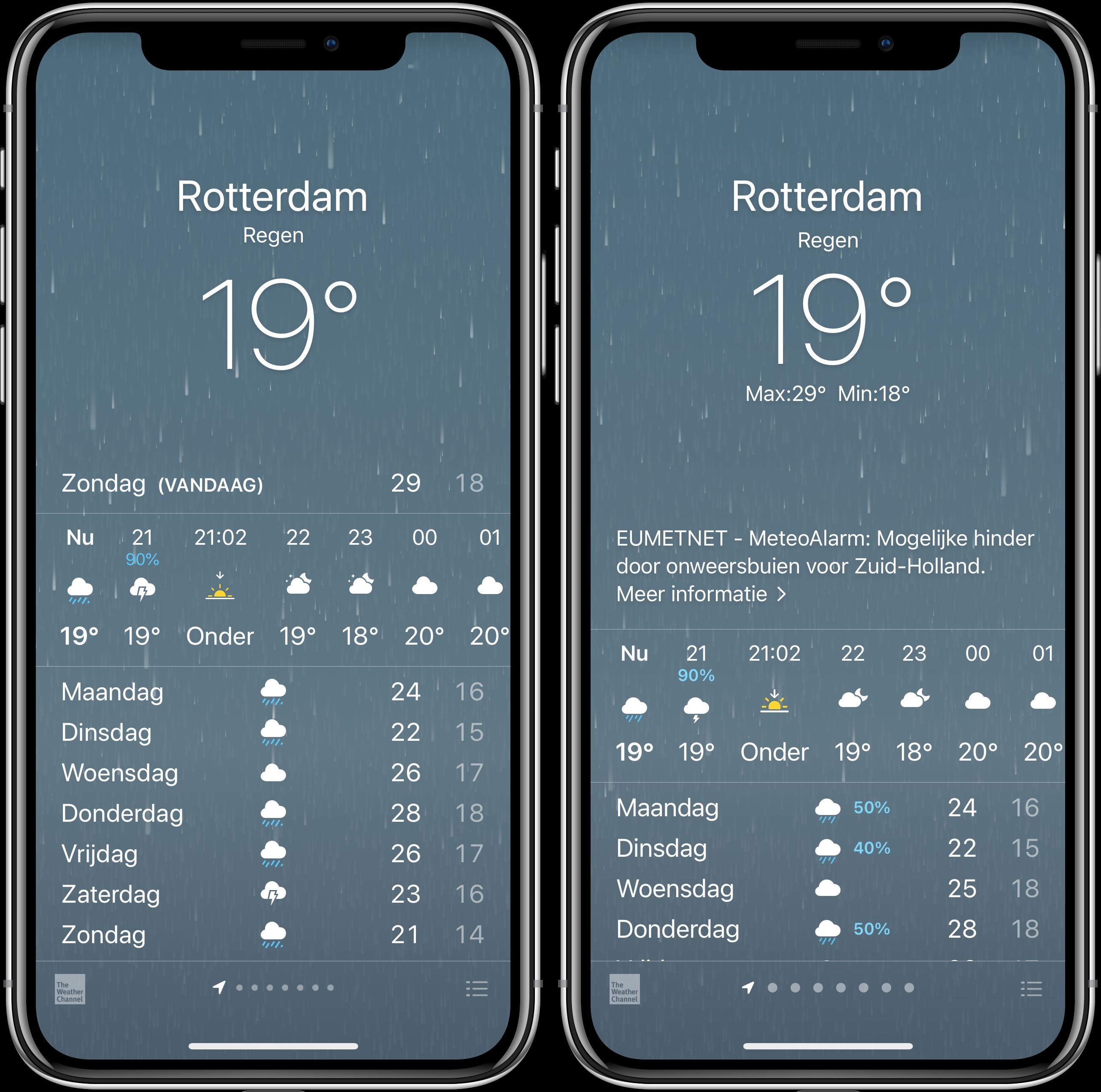 Weer-app iOS 14