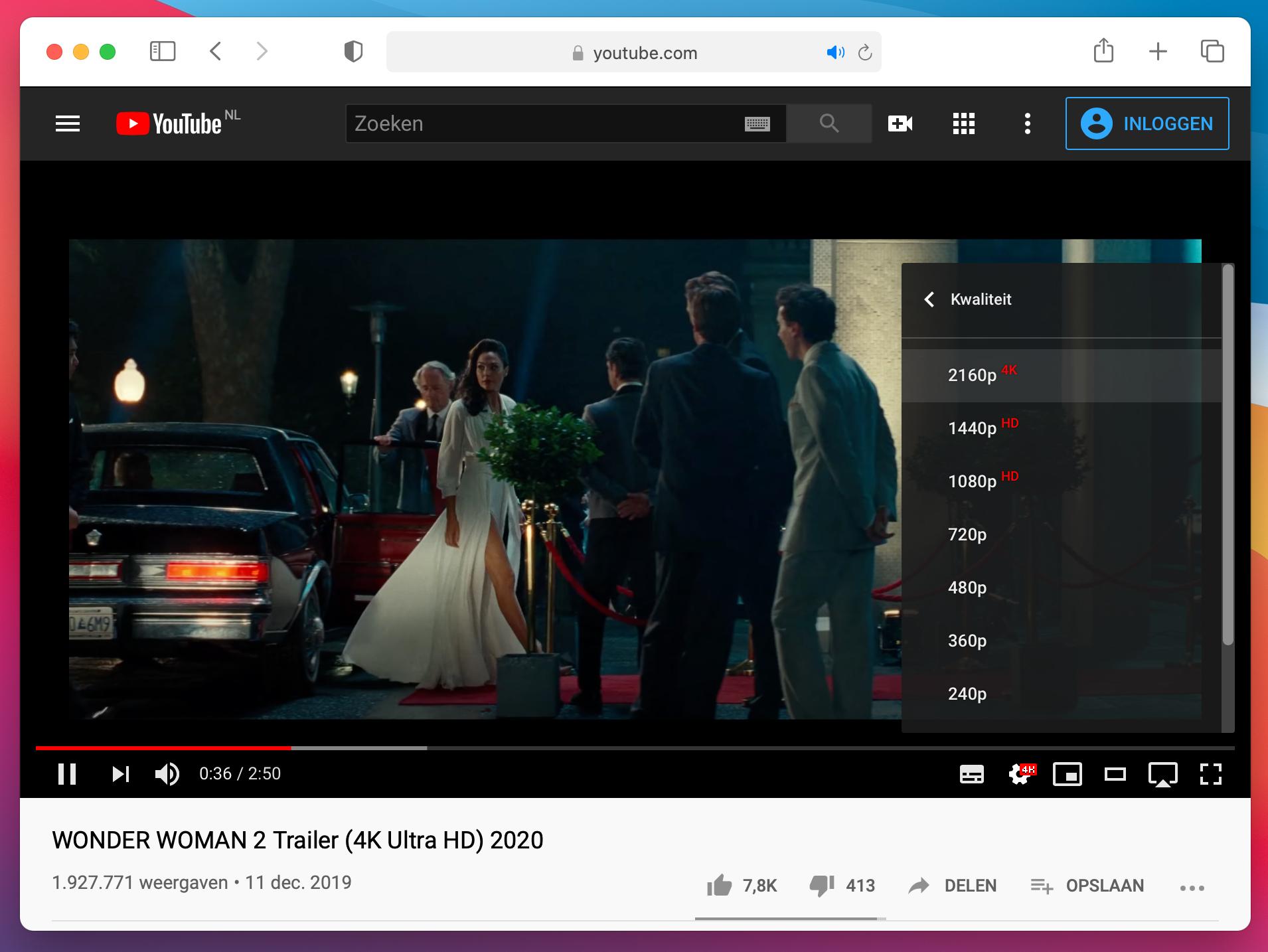 YouTube Mac Safari macOS Big Sur screenshot