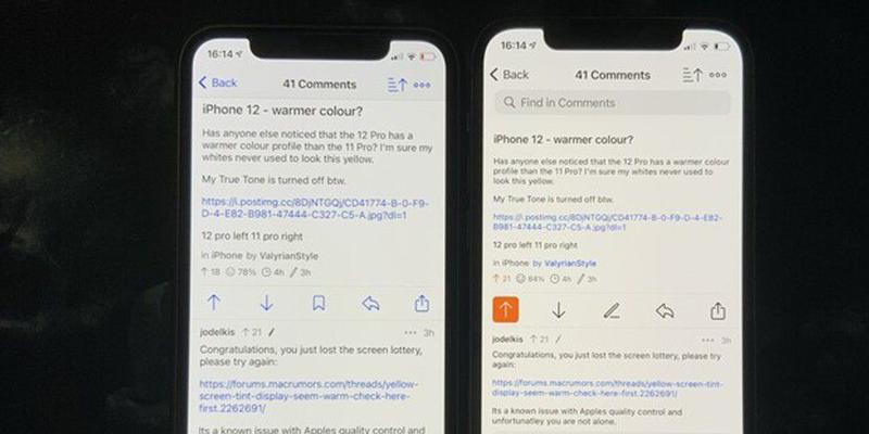 iPhone 12 vertoont geelzweem (reddit)