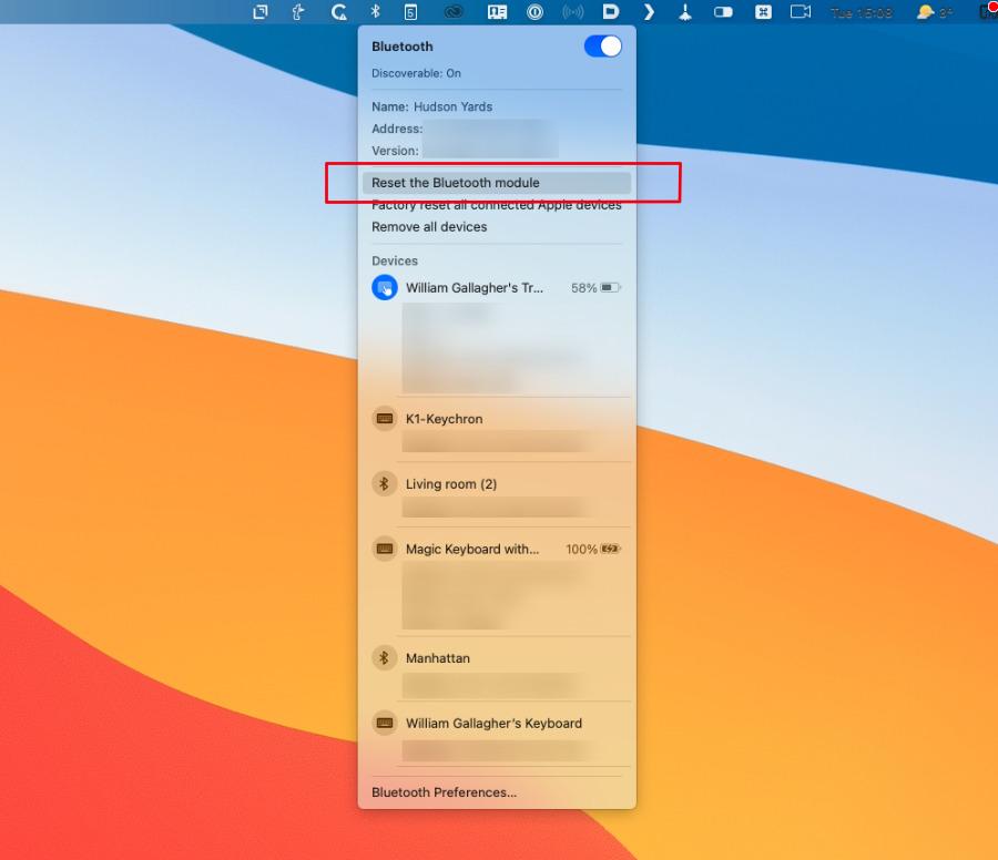 Bluetooth resetten op een M1 Mac