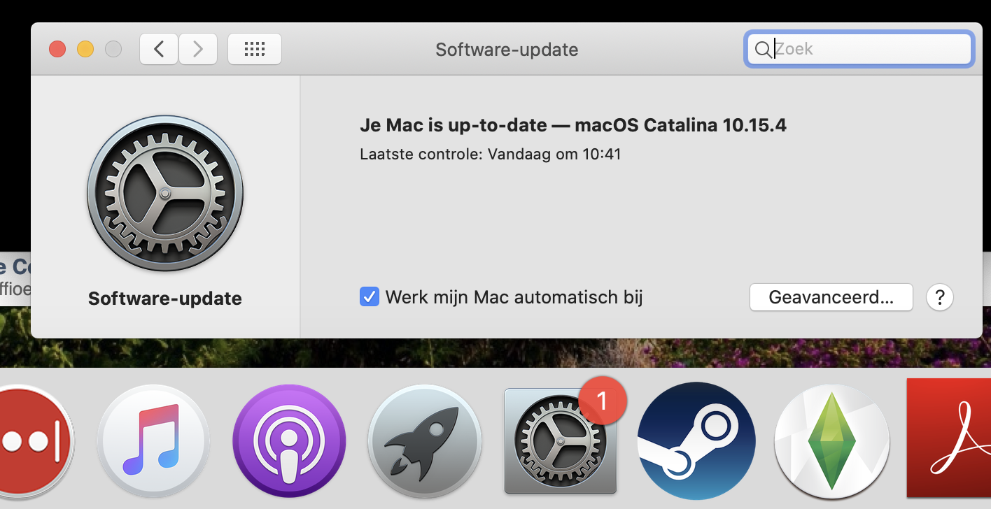 Melding softwareupdate