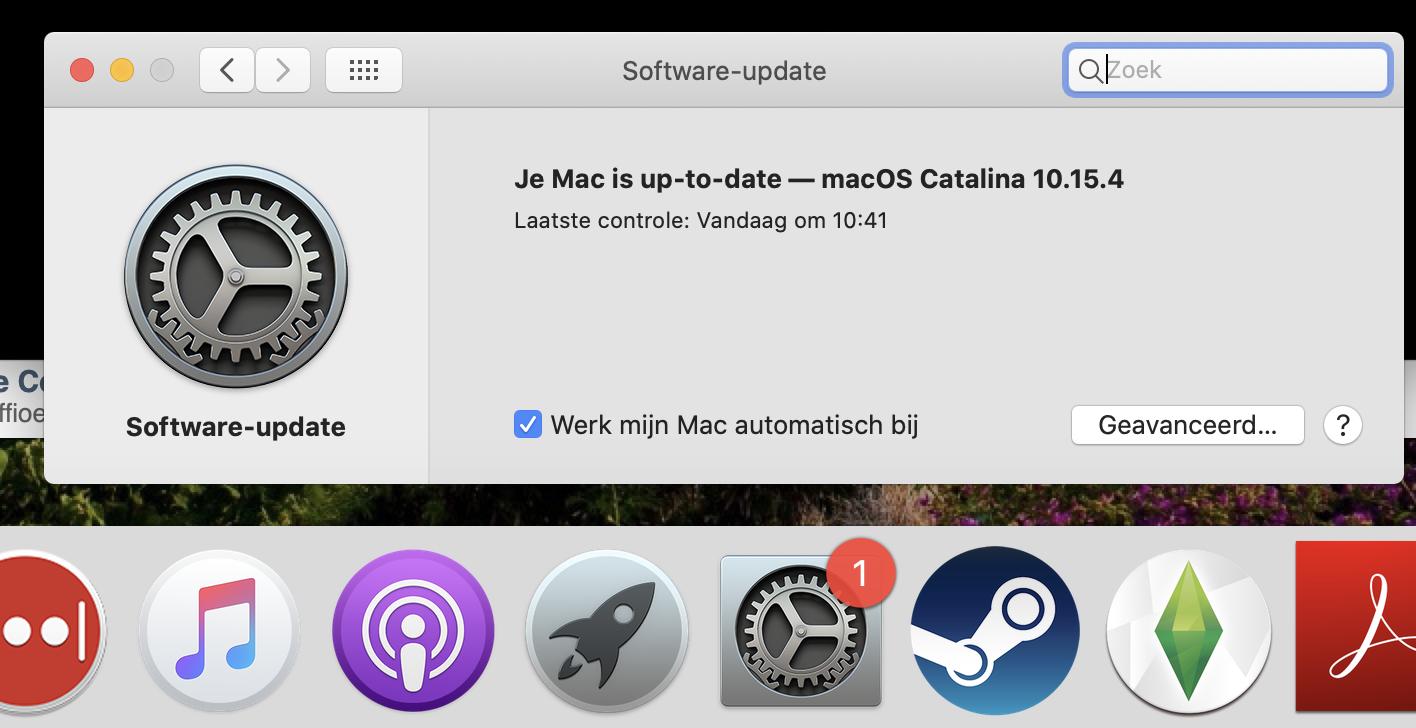 Melding bij Software-update blijft