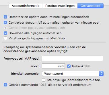iMac mail account settings - deel 2