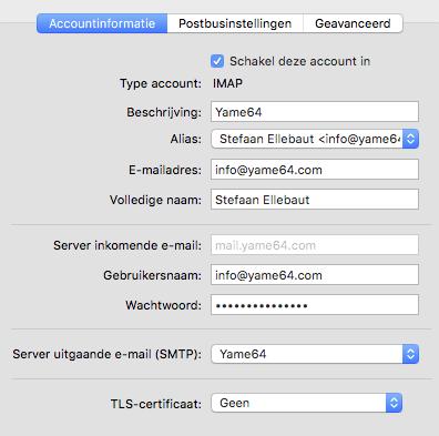iMac mail account settings - deel 1