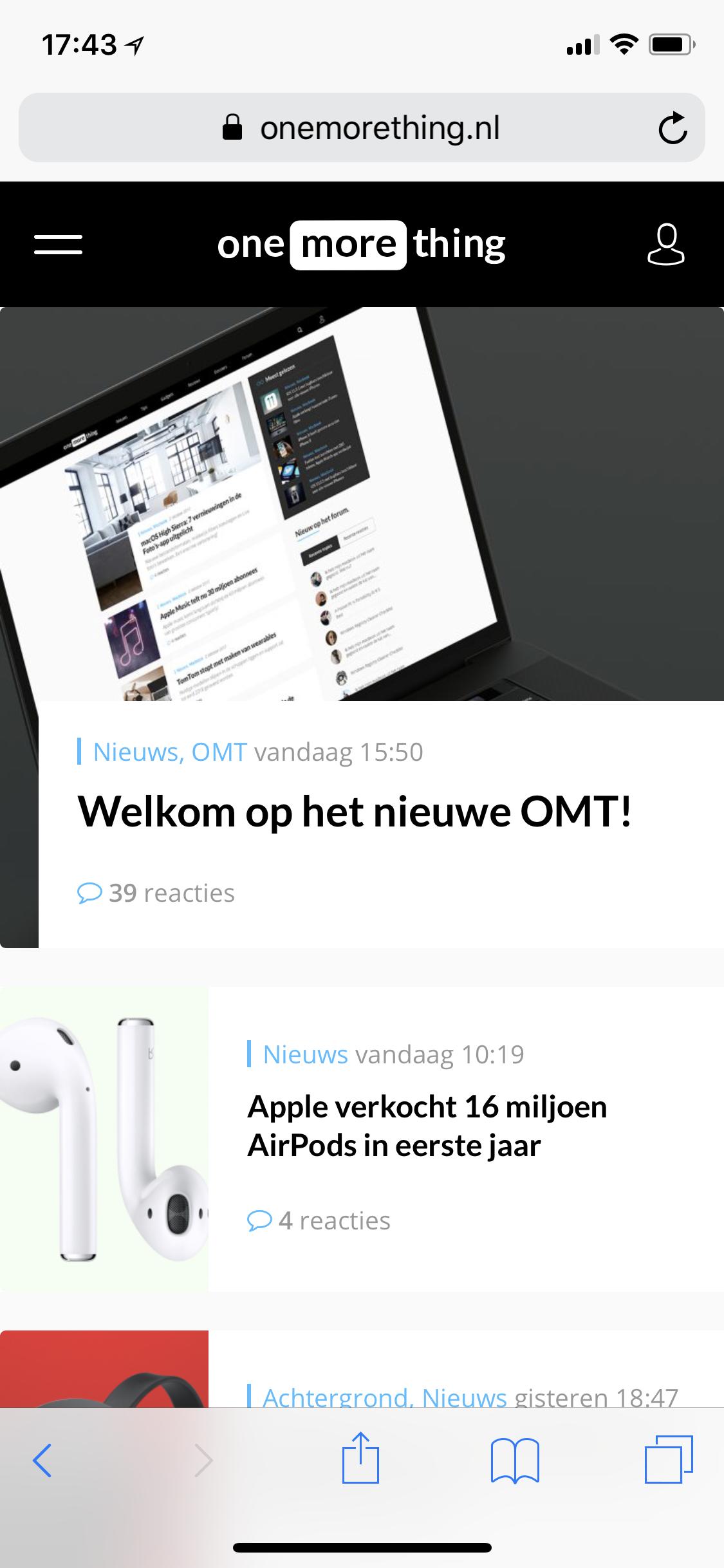Nieuwe site op een iPhone