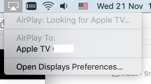 AirPlay Mirroring in MacOS