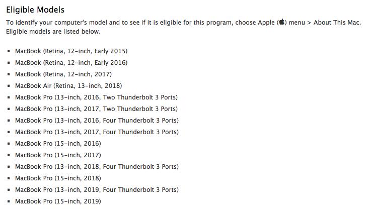 MacBook Pro 2019 nu al op de lijst voor keyboardvervanging