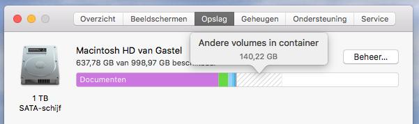 Overzicht Opslag HD iMac