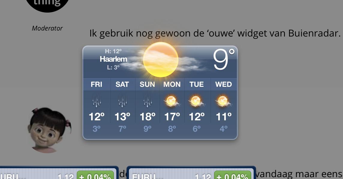 Weather Widget werkt weer!